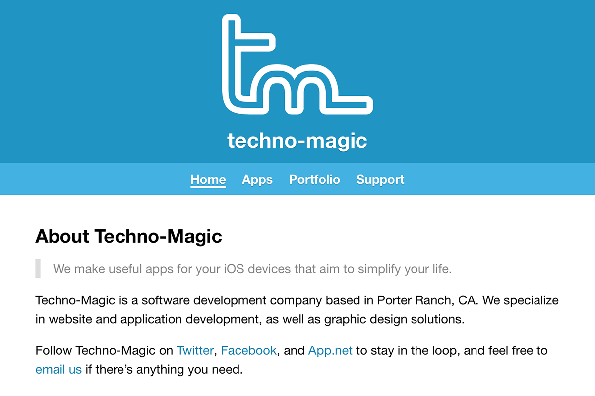 Techno-Magic, My Company Website